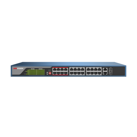 SWITCH HIKVISION 24 ports PoE+, 2 ports SFP+2GB 100Mbps 230W
