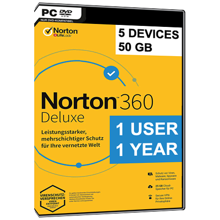 NORTON 360 DELUXE - 1 USER - 5 DEVICE - I YEAR