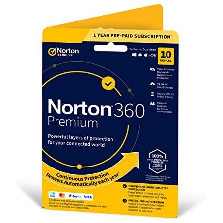 NORTON 360 PREMIUM 1 USER - 10 DEVICES - 1 YEAR