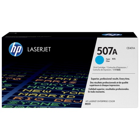 TONER HP N° 507A LASERJET PRO  500/M575DN/M551DN CYAN COLOR 6000 pages