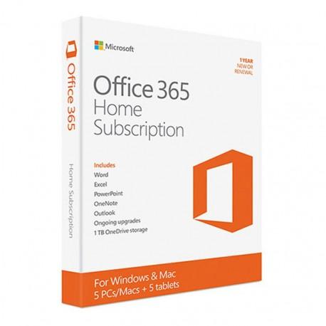 MICROSOFT OFFICE 365 HOME  PREMIUM 1 USER POUR 5PCs OU MAC ET 5 Mobiles 1AN